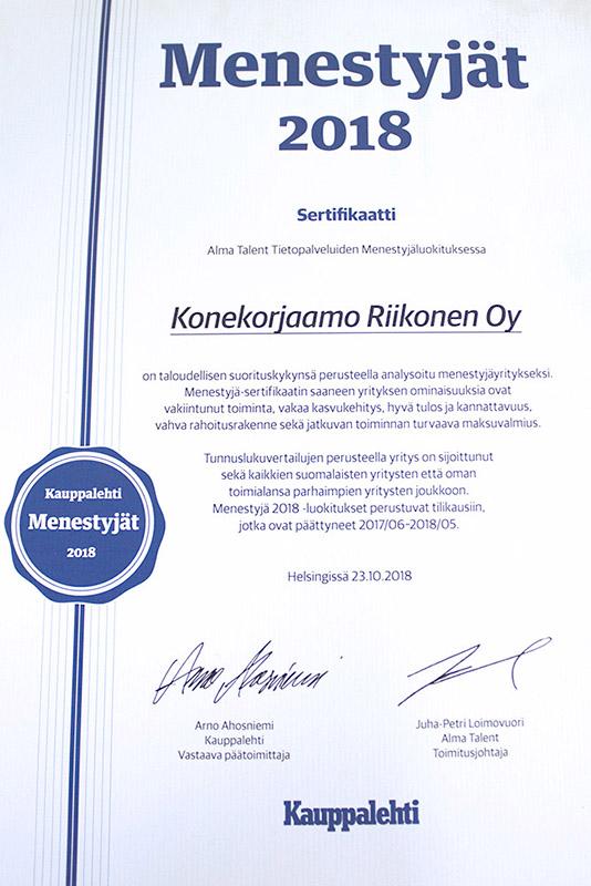 konekorjaamo-riikonen-menestyjä-sertifikaatti