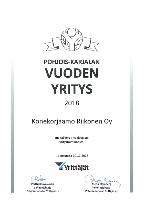 pohjois-karjalan-vuoden-yritys-konekorjaamo-riikonen